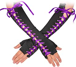 Skeleteen Fingerless Lace Up Gloves - Long Black Costume Elbow Arm Warmer Accessories with Purple Satin Laced Tie for Dress Up