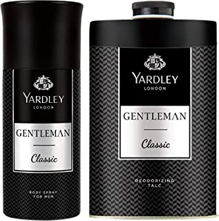 Yardley London Gentleman Classic Deo Body Spray for Men, 150ml & Yardley London Gentleman Talcum Powder, 250g