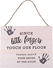 GSM Brands Since Little Fingers Touch Our Floor 15.75 x 13 Wood Plank Design Hanging Sign
