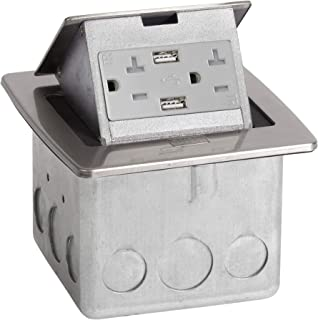 Lew Electric PUFP-CT-SS-2USB Countertop Box, Pop Up w/15A & Single Power/2 USB Receptacle - Stainless Steel