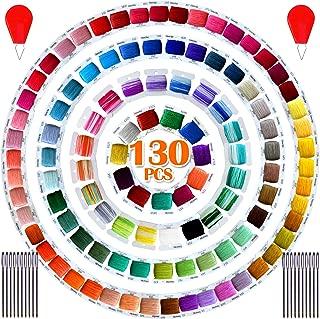 Premium Embroidery Floss String Kits - Cross Stitch Threads Set - Friendship Bracelets Floss bobbins- Crafts Floss-102 Pcs 8m Mercerized Embroidery Floss bobbins and Free Set of Tool Kits