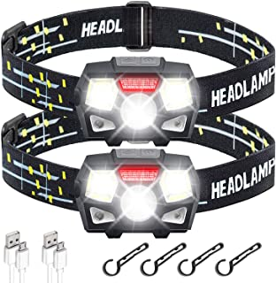 STURME Rechargeable Headlamp Flashlight 2 Pack 800 Lumens Bright LED Headlamp with Red Light and Motion Sensor 5 Modes Cam...