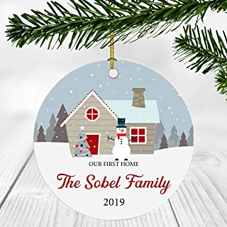 First Christmas in Our New Home 2019 Ornament - Our First Home The Sobel Family - Newlywed Couple Gift Ideas New Home Decoration Ornaments 3 Inches Ceramic