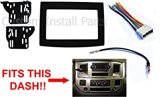 Black Radio Stereo Double Din Dash Install Kit w/Wiring Harness Compatible with Dodge Ram 2006-2010