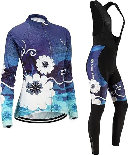 JNL Maillot de Cyclisme Femme Manches Longues Jersey(S5XL,Option Cuissard,3D Coussin) N252
