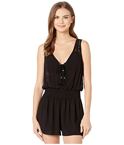 BECCA by Rebecca Virtue Poetic Crinkled Rayon Short Romper Cover-Up (Black) Women