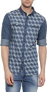 SHOWOFF Mens NavyBlue Printed Casual Denim Shirt