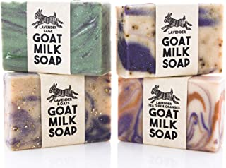 Lavender Variety Pack ~ Creamy Goats Milk Soap | All Natural Ingredients | Lavender, Lavender & Oats, Lavender Sage & Lavender, Tea Tree & Orange | SLS, BPA & Paraben Free! Handmade in the USA!