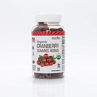 Organic Cranberry Gummies 400mg - Gluten Free, Nutrient Rich Snack - 100 Count