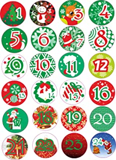 INDIGOS UG - Advent Calendar Numbers Stickers 1 to 24 - colored Vintage - Labels - Stickers - Christmas Calendar - Advent - Round - DIY - to stick on