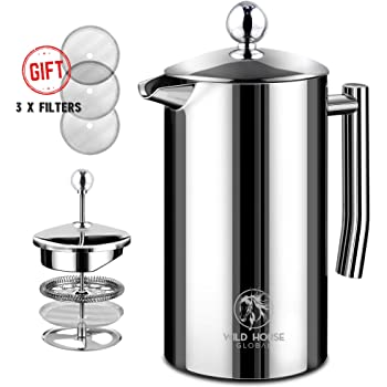 Wild Horse Global French Press Coffee Maker - 34oz (1L) - Insulated Stainless Steel, Makes 8 Cups - Portable Thermal Coffee Makers for Home, Camping, Traveling
