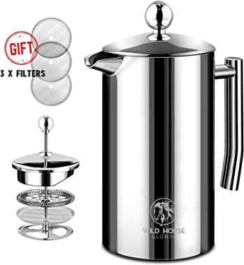 Wild Horse Global French Press Coffee Maker - 34oz (1L) - Insulated Stainless Steel, Makes 8 Cups - Portable Thermal Coffee M