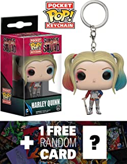 Harley Quinn: Pocket POP! x Suicide Squad Mini-Figure Keychain + 1 Free Official DC Trading Card Bundle (093570)