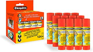 Cléopâtre - BA8x12 - Cléo'stick - Boîte de 12 Bâtons de colle 8 g, Transparent, 12 tubes