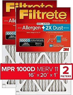 Filtrete 16x20x1, AC Furnace Air Filter, MPR 1000D, Micro Allergen PLUS DUST, 2-Pack