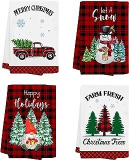 pinata Funny Christmas Kitchen Towels Sets of 4 - Holiday Dish Towel Christmas Hand Towels Housewarming Gifts - Buffalo Pl...