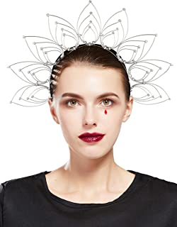 Fantherin Mary Halo Crown Headband Goddess Zip Tie Spiked Halo Crown Halloween Costume Headpiece Headdress for Cosplay Party (Silver)