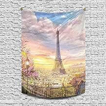 INTERESTPRINT Beautiful European Cityscape of Paris Eiffel Tower Tapestry Wall Hanging Art Cotton Linen Tapestries for Living Room Bedroom Dorm Decor, 60