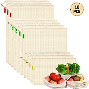 YIHONG 10PCS Bolsas Compra Reutilizables,Bolsas de algodon Reutilizables para Fruta,Verduras,Lavable y Transpirable,3 Tamaños (3*S, 4*M, 3*L): Amazon.es: Hogar