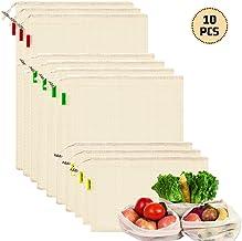 BUYGOO 6 Piezas Bolsas de Vegetales Reutilizables de Algod/ón Bolsas de Malla Transpirables Lavable y Libre de BPA Grandes de Algod/ón Natural Bolsas de Frutas y Vegetales