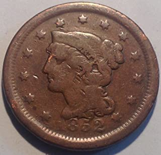 1852 Braided Hair Large Cent Penny Very Good Details