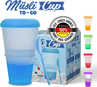 Muesli To Go –Taza para Cereales/Granola con Compartimento Refrigerado para Leche o Yogur y Cuchara – Térmica – para Viajes– Color: Azul