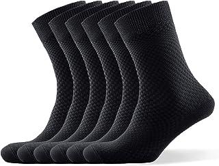 DiaryLook Bamboo Mens Socks 6 Pack, Comfor Breathable Bamboo Socks, Moisture Wicking Soft Blue /Gray /Black Mens Socks
