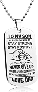 LITTONE Love Gift to My Son Dog Tags from Dad Boy Necklaces Military Chains Pendants LNH9686#