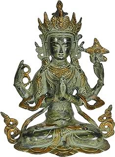 Chenrezig - Four Armed Avalokiteshvara (Tibetan Buddhist Deity) - Brass Statue
