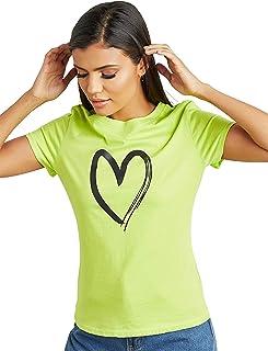تي شيرت يحمل رسم قلب مطبوع مع قبة دائرية للنساء
