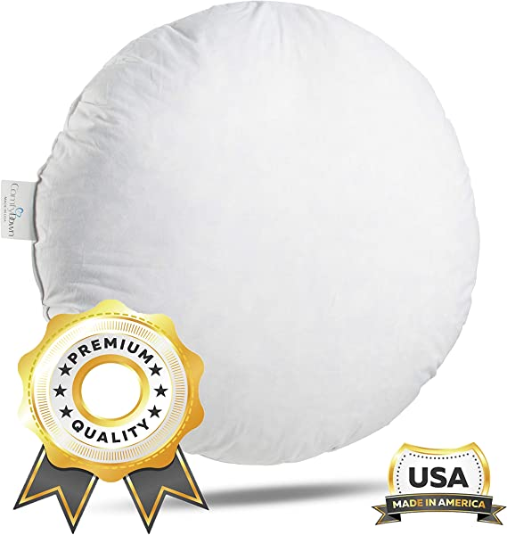 ComfyDown 95 Feather 5 Down 18 Inch Diameter Round Decorative Pillow Insert Sham Stuffer Made In USA
