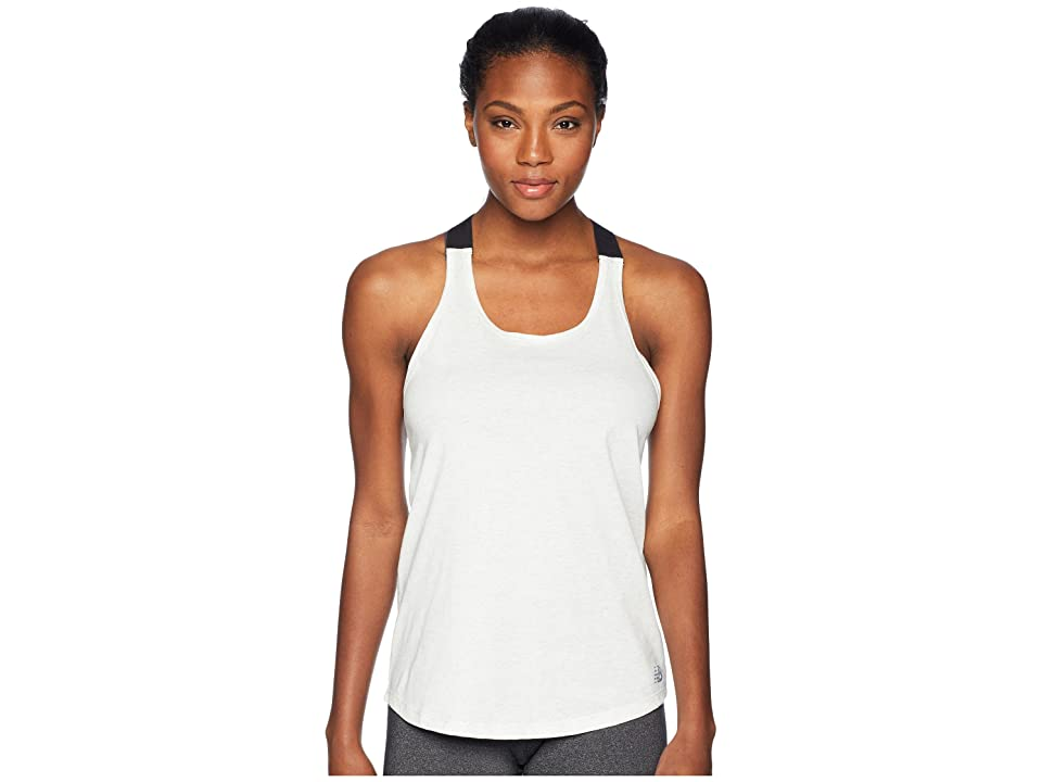 New Balance Heather Tech Tank Top (Sea Salt Heather/Black) Women
