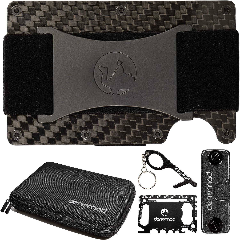 Denomad Carbon Fiber Slim Wallet - Premium Carbon Fiber Wallet For Men, Secure Rfid Blocking Cash Strap Wallet For Digital Nomad, Sleek Minimalist Metal Wallet, Smart Keychain Organizer and EVA Case