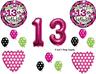 GIRL`S 13th Teenager Happy Birthday Party Balloons Decorations Supplies