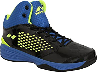 Nivia Warrior -1 Men's Black and Blue Faux Leather Basketball Shoes - 6