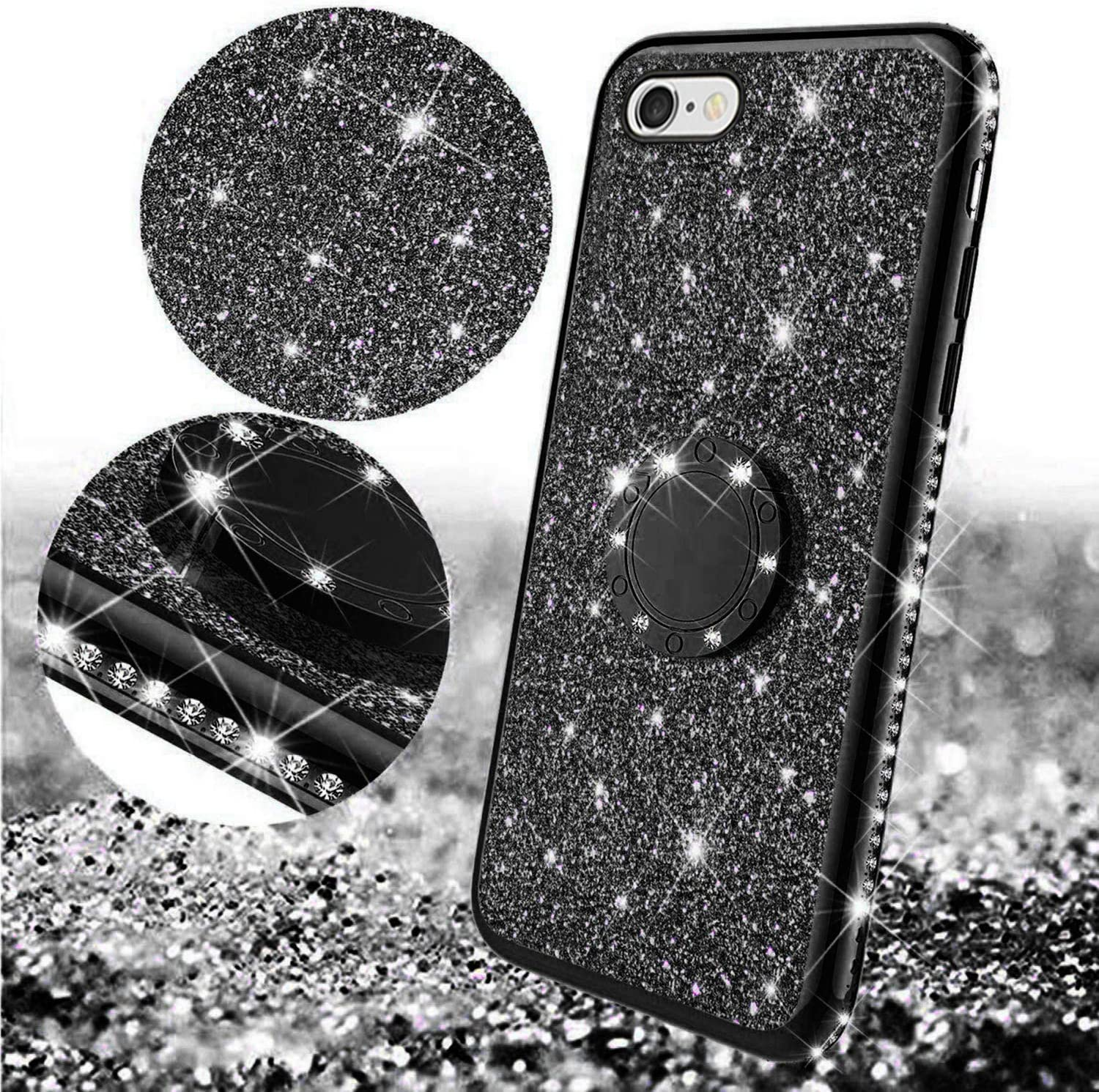 Misstars Bling Diamond Rhinestone Bumper TPU Rubber Silicone Cover with 360 Degree Ring Stand Holder Anti-Scratch for Apple iPhone 6 4,7 Glitter Case for iPhone 6S Silver 6S