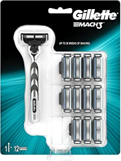 Gillette Mach3 Razor Plus 12 Razor Blades for Men, Up to 10 Months Worth of Shaving