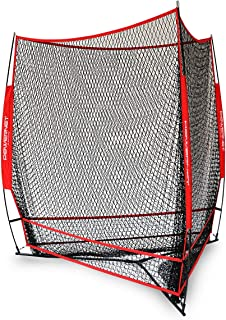 PowerNet Triple Threat Baseball Training Net   3 Way 7' x 7' Batting or Pitching Net Covers 147 Square Feet   Pitch or Hit Into Net Train Multiple Stations at Once   Player Stand in