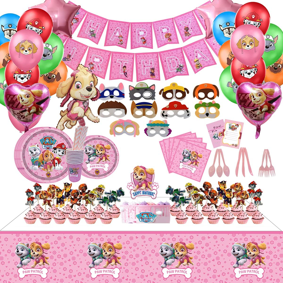 169pcs Pink Paw Patrol Max 86% OFF Party Cheap super special price Decor Dog Supplies theme Birthday