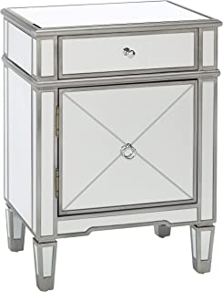 Christopher Knight Home Nelson Silver Finished Mirrored 2 Drawer Cabinet with Faux Wood Frame, Multicolor