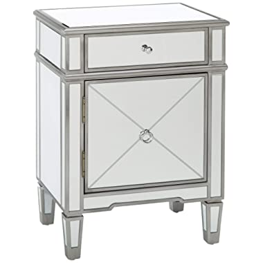 Christopher Knight Home Neely Mirrored 2-Drawer Cabinet with Faux Wood Frame, Silver Finish