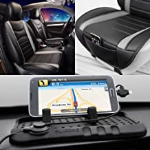 FH Group Summer Sale PU207102 NeoBlend Leatherette Front Pair Seat Cushions, Solid Black Color w. FH3012 Car Silicone Charger Stand- Fit Most Car, Truck, SUV, or Van