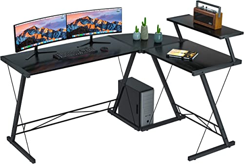 """Coleshome Reversible L Shaped Desk 60.8"""" Home Office Desk with Round Corner Computer Desk with Large Monitor Stand, P..."""