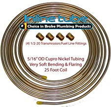 Copper Nickel Fuel Line Tubing 5/16 25 Ft Coil Roll & 1/2-20 Fittings USA CN5 (L-5-3 + D-3-10)