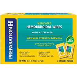 Preparation H Flushable Medicated Hemorrhoid Wipes, Maximum Strength Relief with Witch Hazel & Aloe,