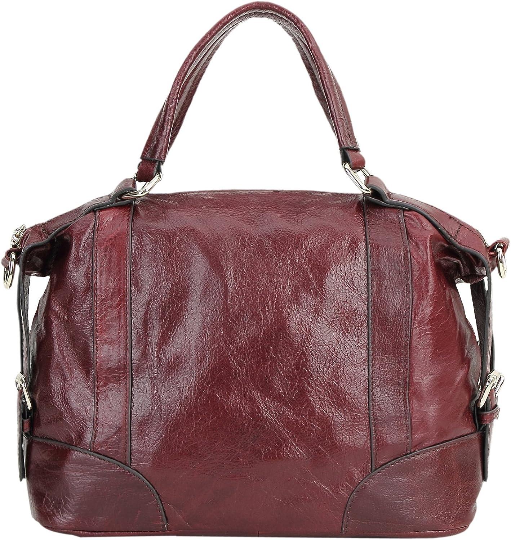 Borgasets Women's Leather Top Double Handle Handbags Doctor Shoulder Bag