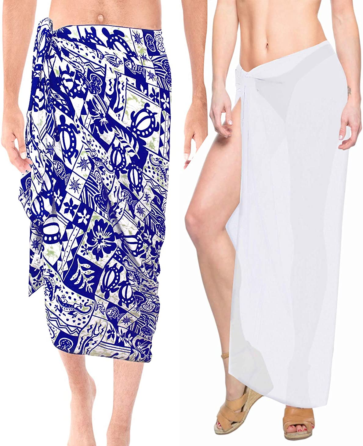 LA LEELA Women's Swimsuit Cover Ups Beach Sarongs Plus Size Work from Home Clothes Women Beach Wrap Sarong Pack of 2