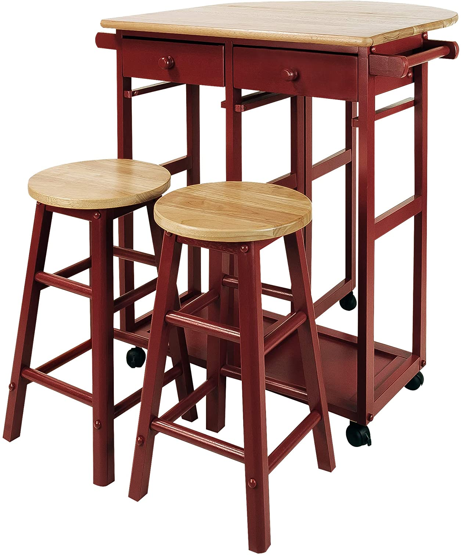 人気の定番 Casual 公式ショップ Home Drop-Leaf Table Red New Breakfast Cart