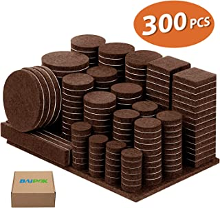 Furniture Pads Felt Pads Pack of 300 5mm Thick Furniture Felt Pads, Self Adhesive Anti Scratch Floor Protectors, Used for Hardwood Tile Wood Floor- Extra Free Gift 60 Rubber Bumpers (Brown)
