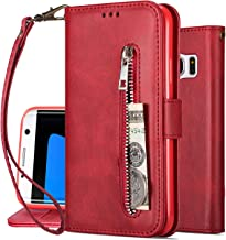 S7 Edge Cover, Harsel [Stand Feature] Magnetic Flip Folio PU Leather Wallet Purse Durable Protective Cases with Card Holder Zipper Pocket for Samsung Galaxy S7 Edge (Red)